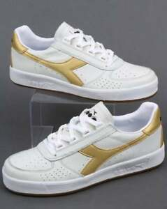 Borg Trainers Diadora In Leather Gold amp  White Elite L gAWOaRW f50a2a09dc7