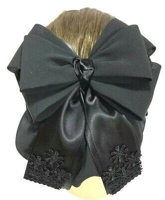 Beautiful Cute Bow Ribbon Black Blue Red Brown Hair Net Clip Snood Bun Cover