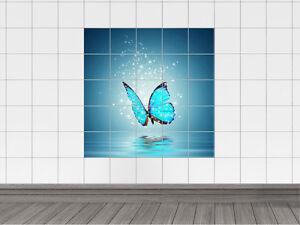 Das Bild Wird Geladen Fliesenaufkleber Fliesen Fuer Bad Kueche Fliesendesign  Blauer Schmetterling