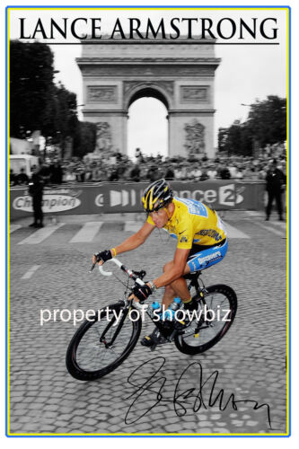 LANCE ARMSTRONG HUGE SIGNED POSTER OF THE TOUR DE FRANCE 7 TIME WINNER