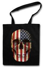 STARS & STRIPES SKULL FLAG HIPSTER BAG - Stofftasche Stoffbeutel Jutebeutel USA