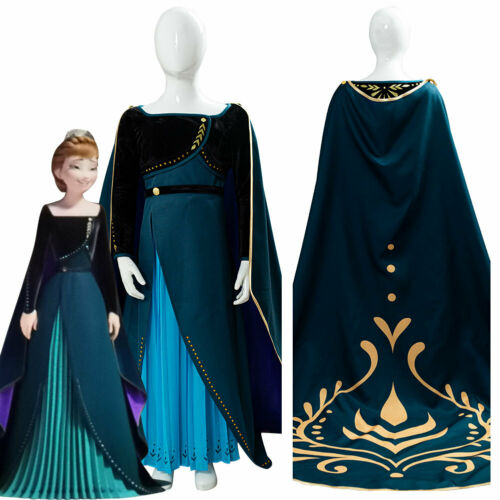 Frozen 2 Princess Anna Cosplay Coronation Queen Costume Kid /& Adult Outfit Dress