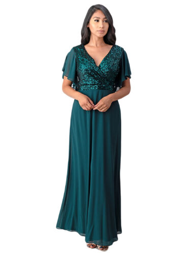 Fanny Fashion Womens Emerald Green Wrapped Bust Sequin Detail Evening Gown L-4XL