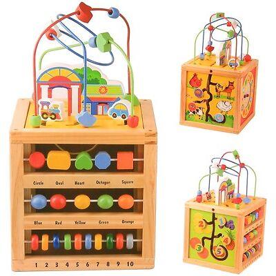 XL Motorikwürfel mit Motorikschleife Holz Activity Cube Würfel Spielzeug Lern