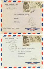 1955 Papeete Tahiti covers to Colorado - John Farnham Import - Commission