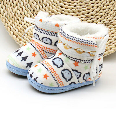 Christmas Baby Toddler Kids Boy Girl Snow Boots Soft Sole Prewalker Crib Shoes