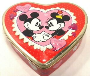 Mickey-amp-Minnie-Mouse-Heart-Shaped-Collectible-Tin-034-Be-Mine-034-Red-amp-Pink-Storage