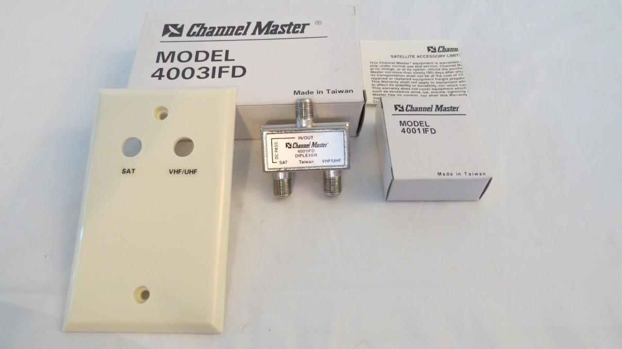 08-0520 southsanta Channel Master 4003IFD U/V Antenna Coax Satellite Diplexer 2 way Splitter 75 Ohm