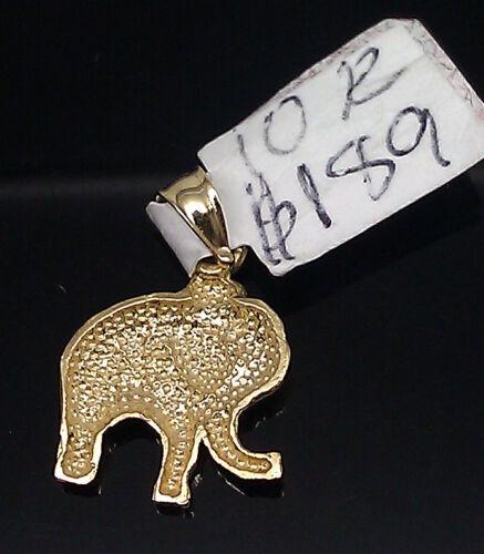 """Véritable 10k or Jaune éléphant Charm /& 10k Gold Rope Chain Necklace 16/"""""""