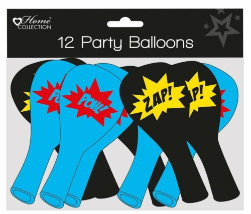12x childrens balloons boy/'s party black and blue superhero comic