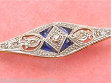 ANTIQUE ART DECO .06ctw DIAMOND SAPPHIRE 18K GOLD & PLATINUM BAR PIN 1930