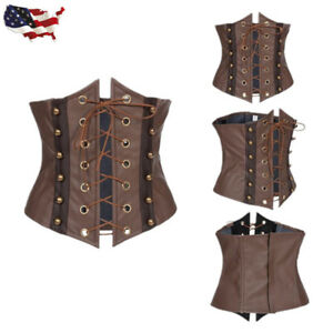 02255f3dae Image is loading US-Brown-Faux-Leather-Underbust-Corset-Bustier-Waist-