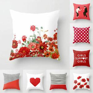 Red-Flower-Plaid-Pillowslip-Throw-Pillow-Case-Cushion-Cover-Sofa-Home-Decor