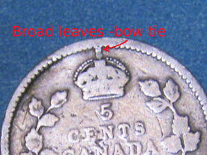 1910-Canada-5-cent-broad-leaves-bow-tie