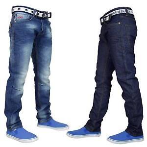 Crosshatch-Hombre-Denim-Jeans-Regular-Pierna-Recta-Algodon-Pantalones-Pantalones-Correa-Libre