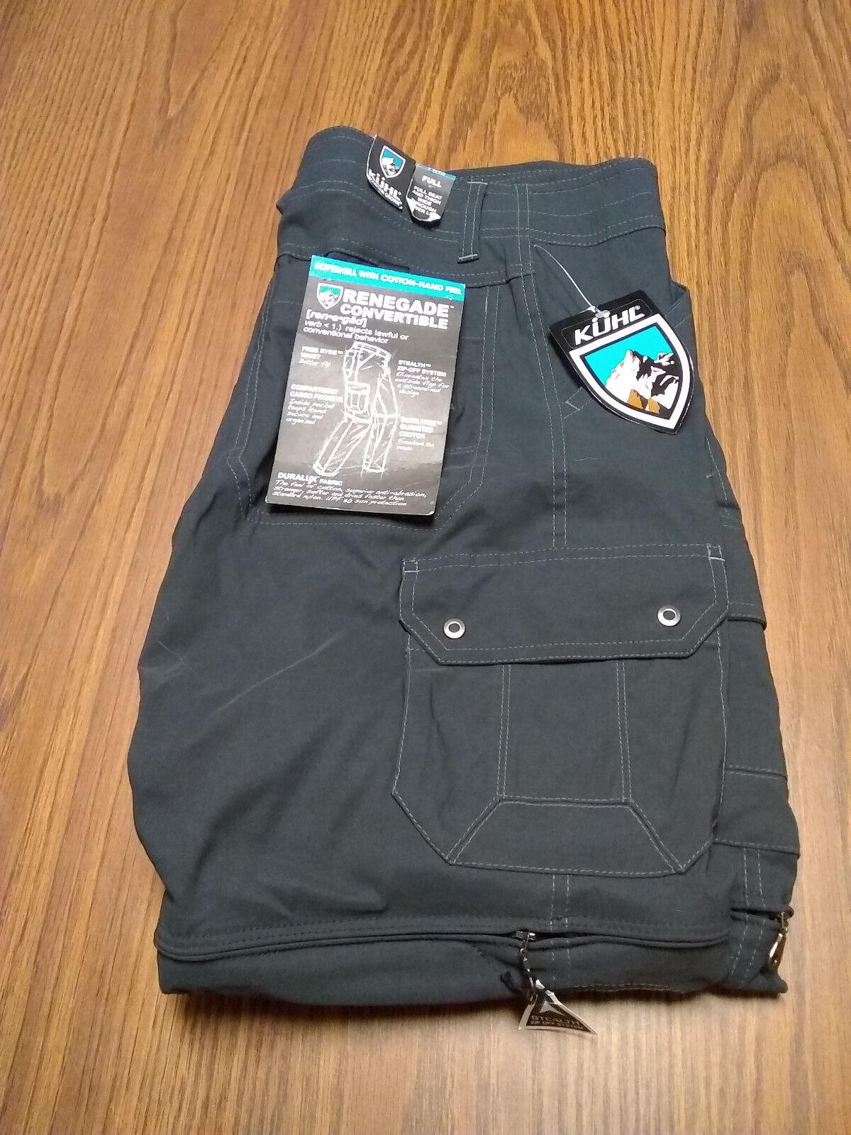 Kuhl renegado Pantalones converdeibles-Para Hombre Calce Completo  Koal 30x32  Nuevo Con Etiquetas   alta calidad y envío rápido
