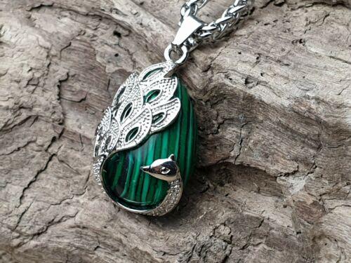 Piedras preciosas remolques malaquita verde barroco pavo real Peacock cadenas remolque joyas