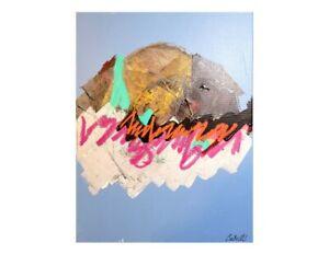 CORBELLIC ART, ORIGINAL ABSTRACT, ABOVE CLOUDS, GOLDEN FACE, EXPRESSIONIST ART