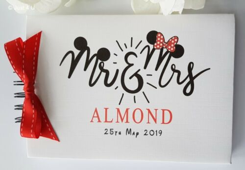 "SCRAPBOOK PERSONALISED DISNEY /""MR /& MRS/"" MICKEY /& MINNIE WEDDING GUEST BOOK"