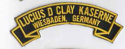 """Lucius D Clay Kaserne Wiesbaden Germany 4/"""" embroidered rocker tab patch"""