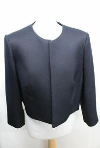 HOBBS-Ladies-Elize-Navy-Blue-Open-Front-Cropped-Blazer-Jacket-Size-EU38-UK10-NEW