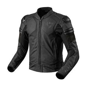 Rev-039-It-Akira-Air-Cuir-Sports-Course-Veste-de-Moto-Noir-Rev-It-REVIT