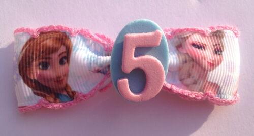 Frozen Anna Elsa Birthday Badge Age Number Hair Bow Ribbon Girls Alligator Clip