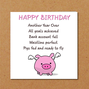 Wondrous Funny Birthday Card Friend Girlfriend Mum Daughter Pigs Might Fly Funny Birthday Cards Online Inifodamsfinfo