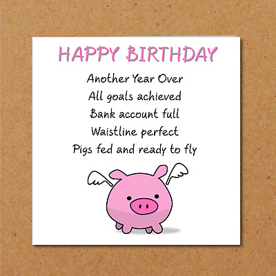 Funny Birthday Card Friend Girlfriend Mum Daughter Pigs Might Fly Amusing Bff Ebay