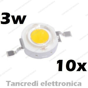 10X-Chip-led-3W-bianco-freddo-600mA-3V-3-6V-alta-luminosita-lampadina-lampada
