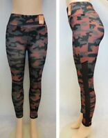 Women Fitness Leggings Camo Running Yoga Pink Gray Polyester Long Fitted Pants