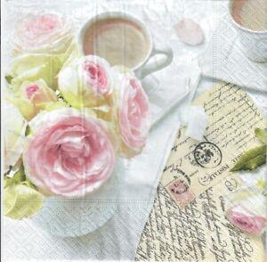 stamps letter roses design -360 4 Single paper decoupage napkins.Lots of love