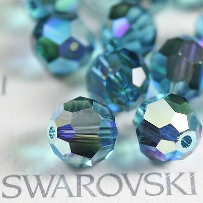 24 pcs Swarovski Element 5000 faceted 6mm Round Ball Beads Crystal Indicolite AB