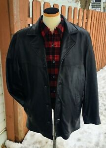 GUESS-Black-Leather-Jacket-Large-Button-Up-Cell-Phone-Pocket-Very-Soft-w-Liner