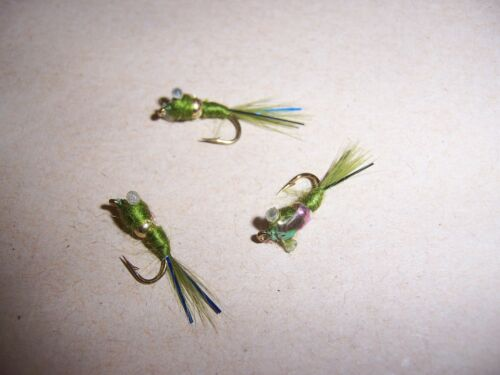 blue flash Salmoflies OLIVE Damsel Destroyer Nugget Nymph Fishing Fly size 10