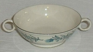 Theodore-Haviland-Cream-Soup-Bowl-CLINTON-Blue-Floral-Vtg-4-5-034