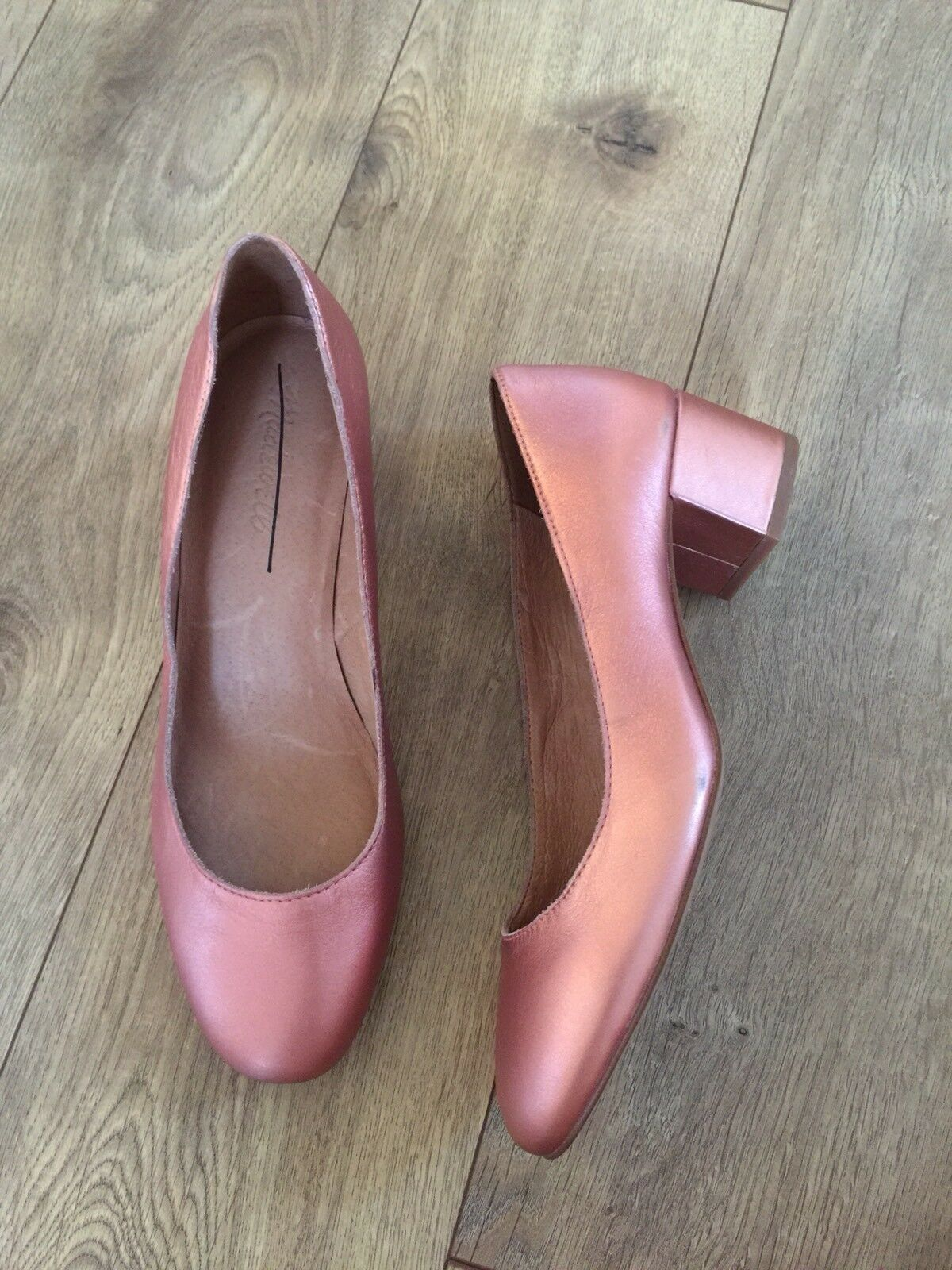New Madewell The The The Ella Pumps Sz 8 Metallic Block Heels H2163 pink gold Pink d4a301