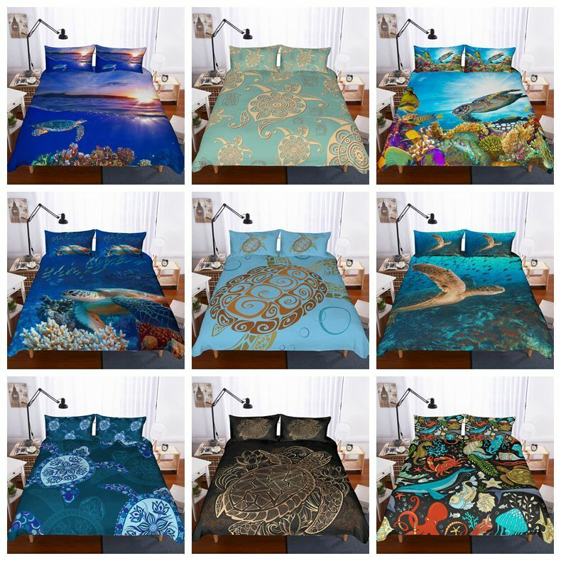 3D colorful Sea Turtle Duvet Cover Bedding Set Tortoise Quilt Cover Pillowcases