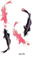 Koikarpfen Fische Bunt Temporary Temporäre Klebe Tattoo  5,5 x 10,5 cm QS76