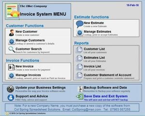 Invoice Software Intuitive And Fully Menudriven Runs In Excel - Invoice software windows