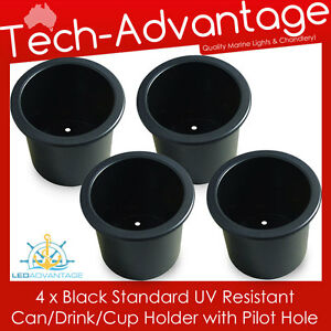 4-X-STANDARD-SIZE-RECESSED-BLACK-DRINK-CUP-CAN-STUBBIE-HOLDER-MARINE-BOAT-YACHT