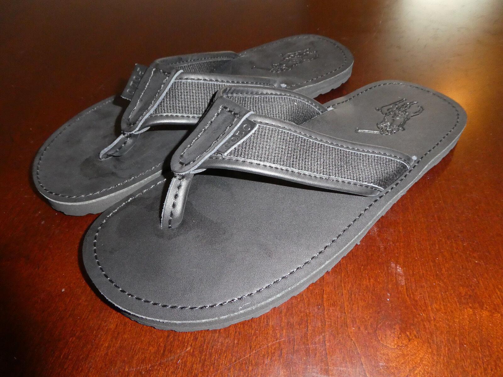 Polo Ralph Lauren Flip Flops thongs mens shoes black Sullivan no box sz 10