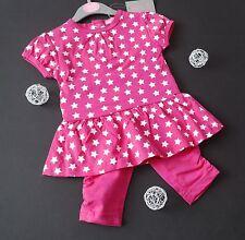 MinoTi Baby Girl 2tlg T-Shirt Tunika & Capri Leggings STERNE Pink Gr. 80/86 NeU
