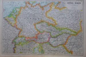 1919-MAP-CENTRAL-EUROPE-POLAND-CZECHOSLOVAKIA-HUNGARY-AUSTRIA-GERMANY-BELGIUM