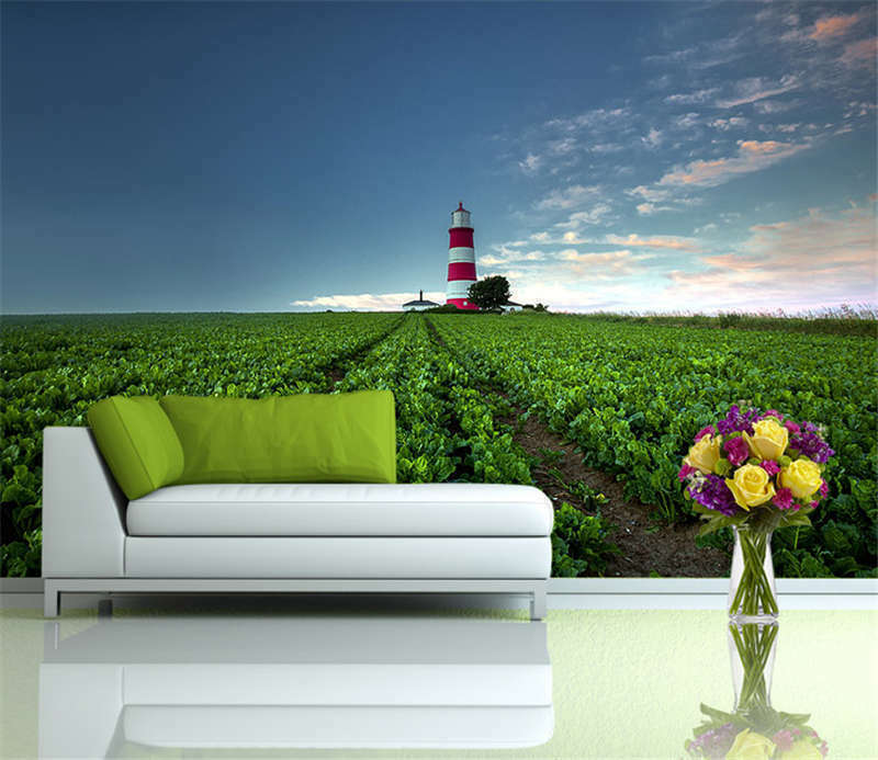 Lighthouse Awesome Meadow Full Wall Mural Photo Wallpaper Print Home 3D Decal