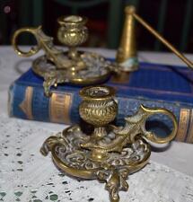 Pair antique Art Nouveau brass Scottish thistle candle holders candlesticks