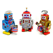 SET OF 3 TIN TOY ROBOT Walking Wind Up Metal SPACE AGE NEW Retro Little Giant