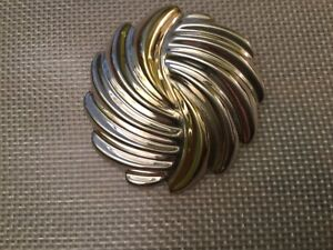 Vtg Mexico 925 Sterling Silver Modernist Spiral Hollow Large Pin Brooch