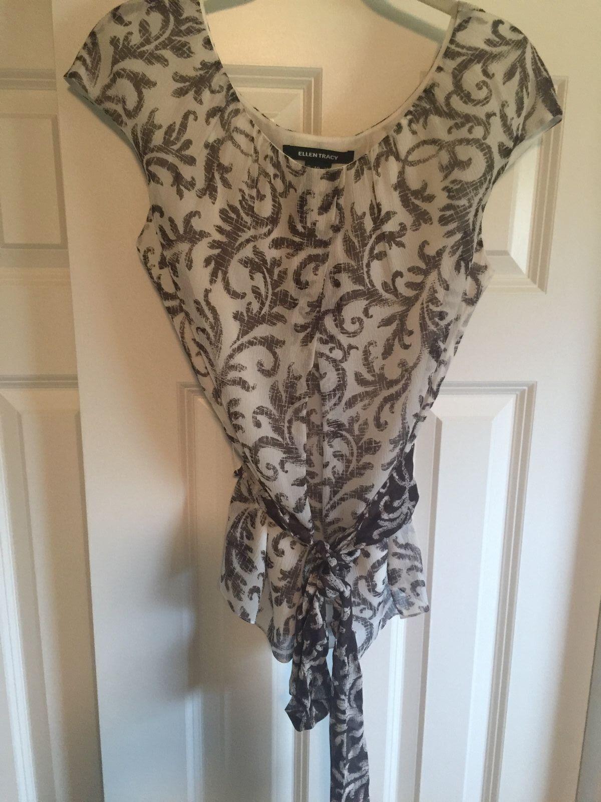 NWT Ellen Tracy 100% Silk Cap Sleeve Blouse Woherren Größe 10 Retails