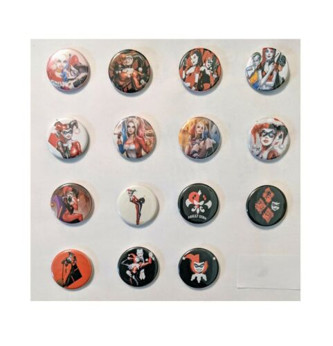 """Lot of 15 1.25/"""" Flatback Button Harley Quinn Pins Approx. 32mm"""